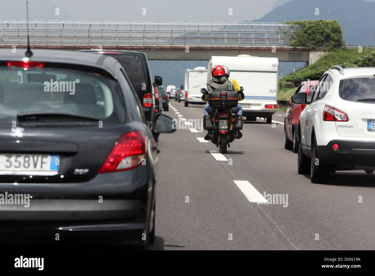 Trento, Italy, motorcyclists jostles ago in a traffic jam on the A 22 Stock Photo