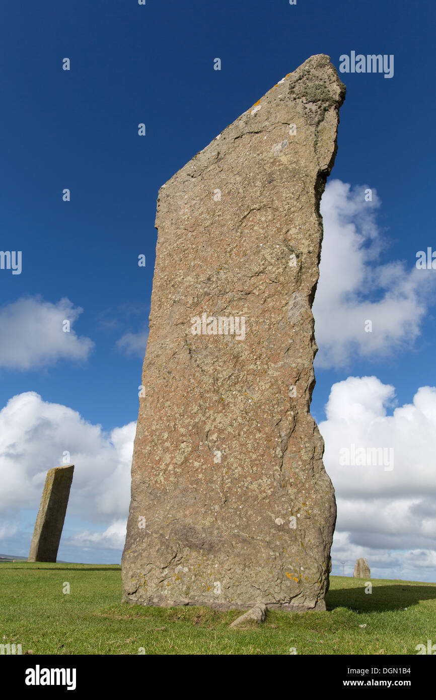 Islands of Orkney, Scotland. Picturesque view of the megaliths that form the Standing Stones of Stenness. Stock Photo