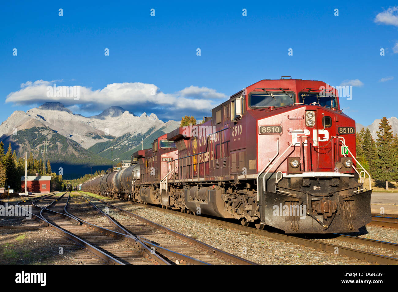 Canadian Pacific freight train waiting for departure at Banff station Banff National Park Rockies Alberta AB Canada - Stock Image
