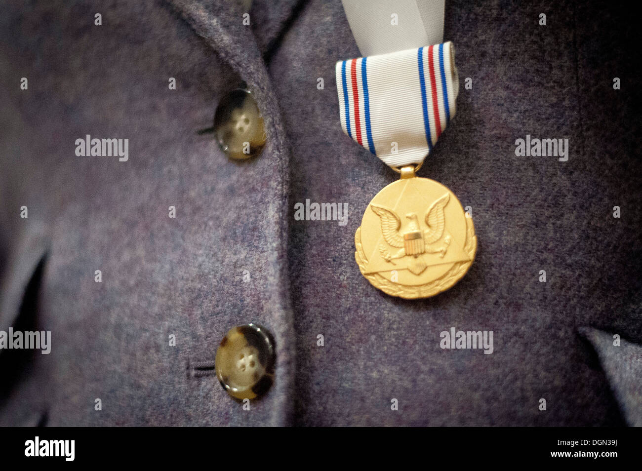 Close-up photo of the Army Decoration for Distinguished Civilian Service that was just presented to former Rep. Gabrielle 'Gabby' Giffords (Ariz.) for 'outstanding public service and support of the Army's missions', October 10, 2013 at the Pentagon, Washi - Stock Image
