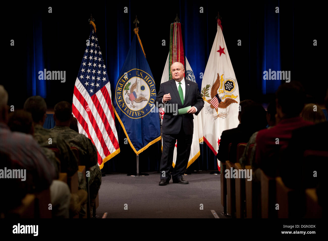 Under Secretary of the Army Joseph W. Westphal gives remarks just before he presents the Army Decoration for Distinguished Civilian Service to former Rep. Gabrielle 'Gabby' Giffords (Ariz.) for 'outstanding public service and support of the Army's mission - Stock Image