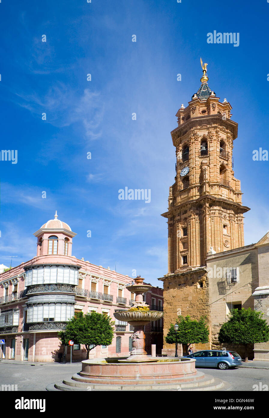 Historic buildings church and plaza San Sebastian, centre of Antequera, Spain - Stock Image