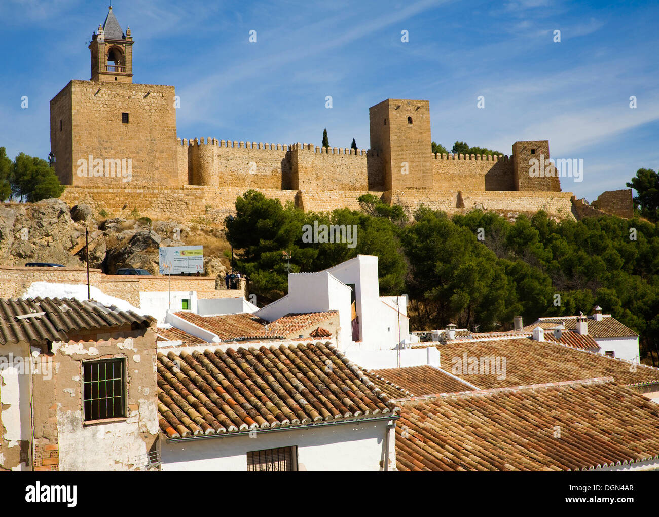 Historic fortified Alcazaba in Antequera Spain - Stock Image