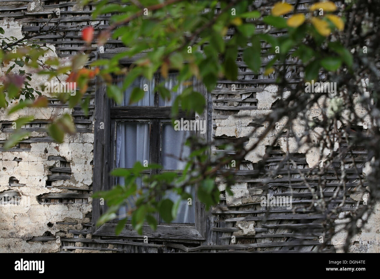 Window of old farmers house near Mojkovac, northern Montenegro - Stock Image