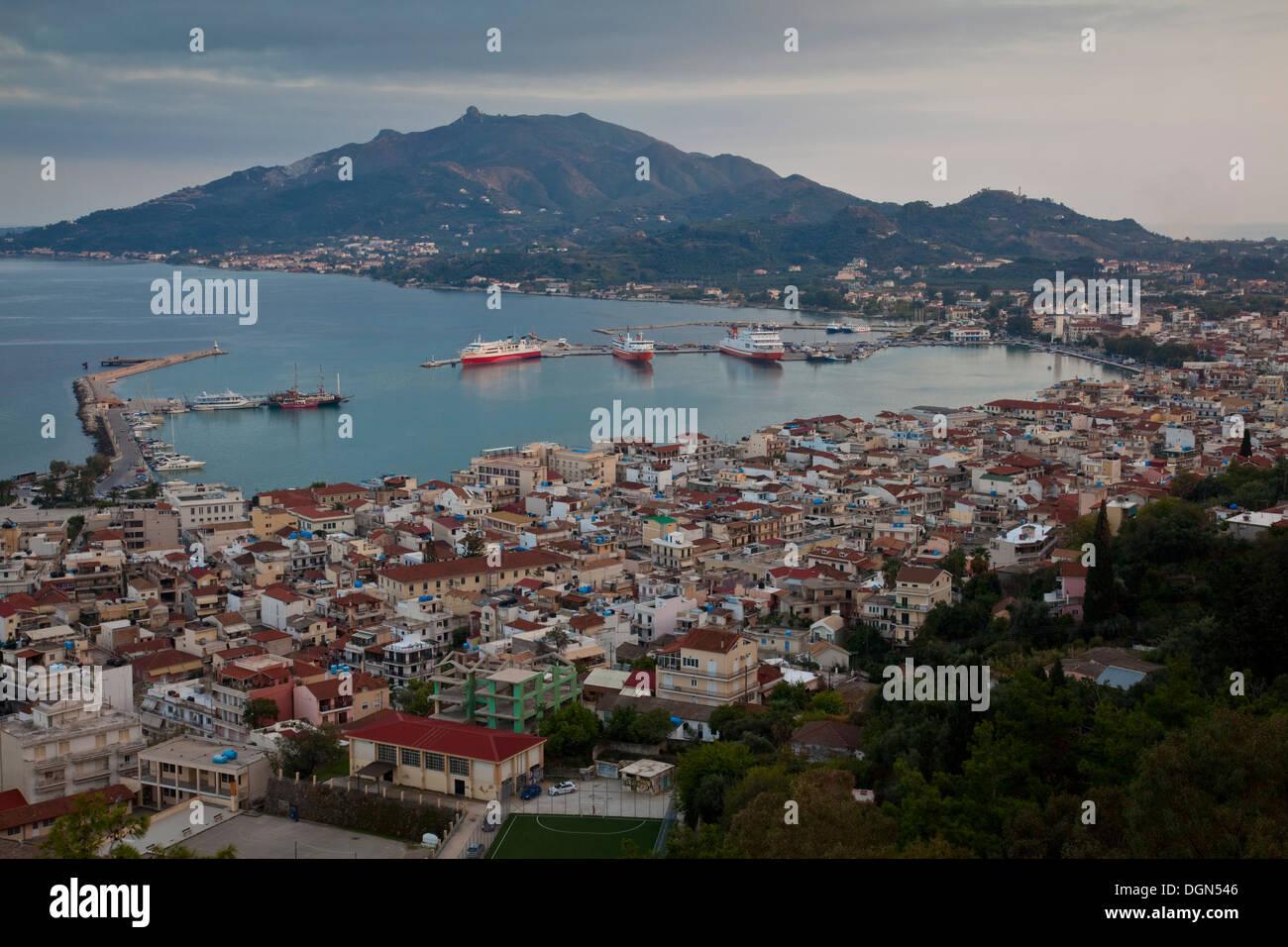 Classic View Of Zakynthos Town From Bocholi, Zakynthos (Zante) Island, Greece Stock Photo