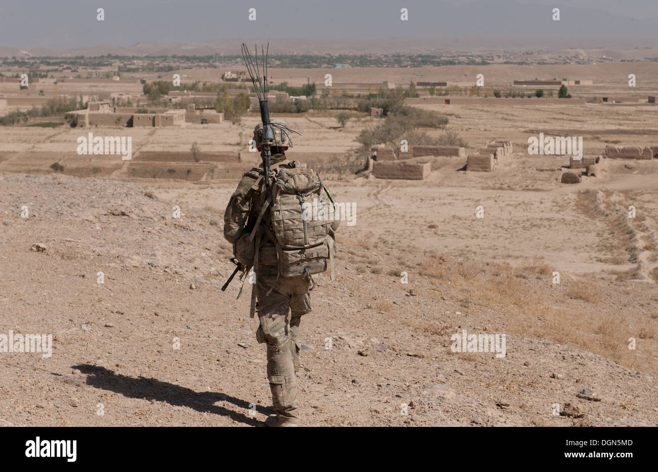 """An U.S. Army soldier with Troop C, 6th Squadron, 8th Cavalry Regiment """"Mustangs,"""" 4th Infantry Brigade Combat Team, Stock Photo"""