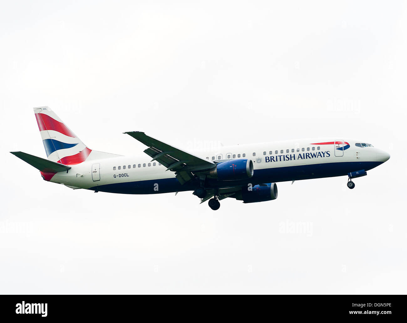 British Airways Boeing 737 Airliner G-DOCL on Landing Approach to London Gatwick Airport LGW West Sussex England United Kingdom - Stock Image