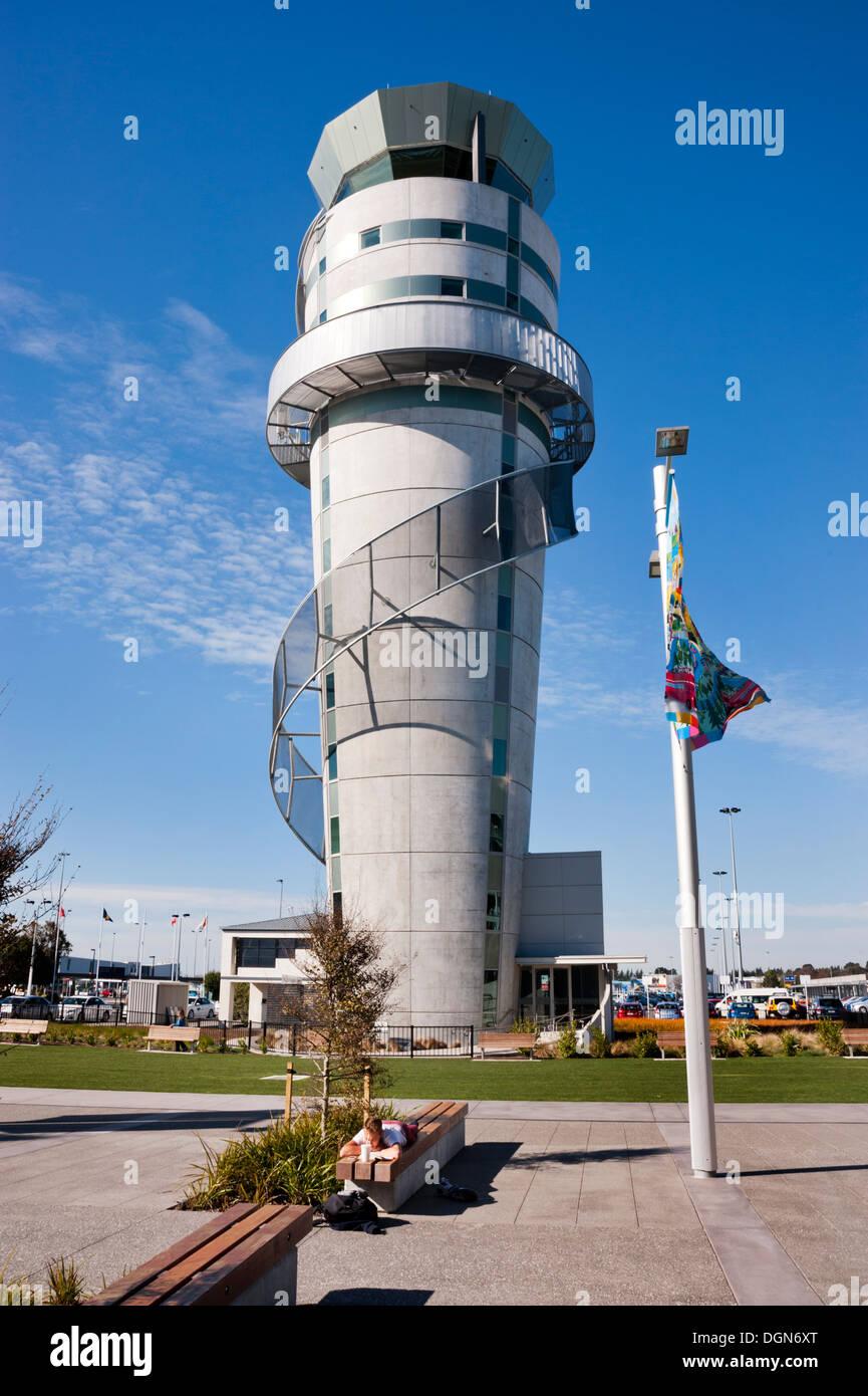 The award winning Christchurch Airport Control Tower, Christchurch, South Island, New Zealand. - Stock Image