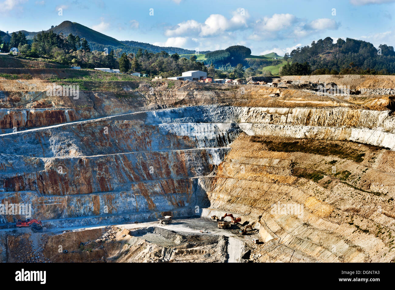 The huge opencast Martha Gold Mine, Waihi, North Island, New Zealand. The mine is to be restored as a lake. - Stock Image