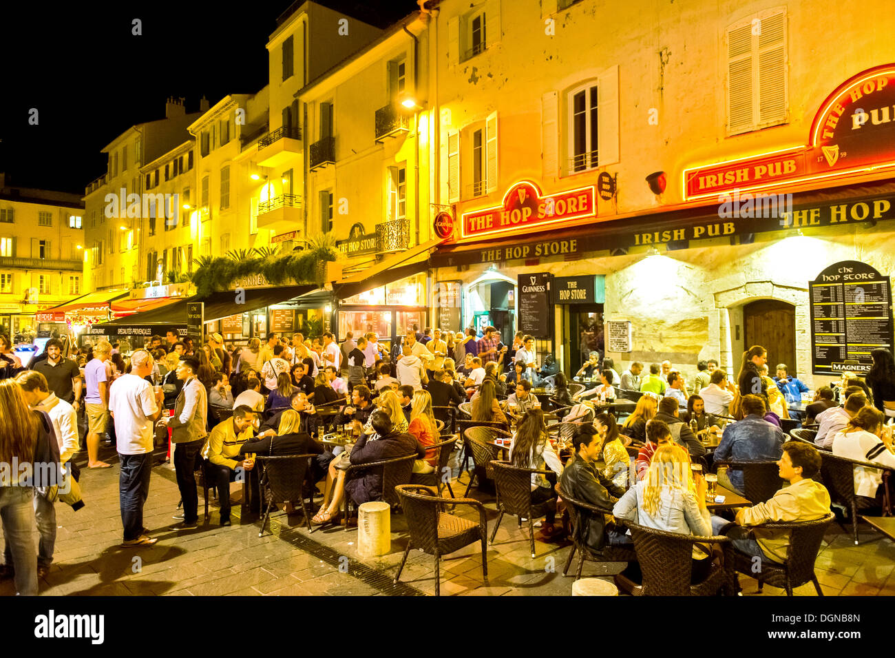 Europe, France, Alpes-Maritimes, Antibes. Old town at night. - Stock Image