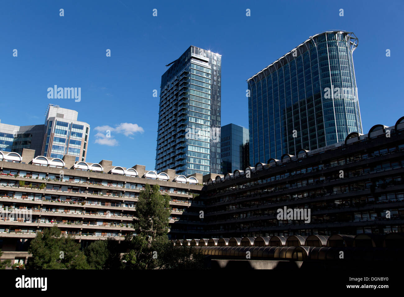 Speed & Brandon House (front), Apartment block, Barbican Centre, with The Heron (middle) & CityPoint (Right), London, UK. - Stock Image