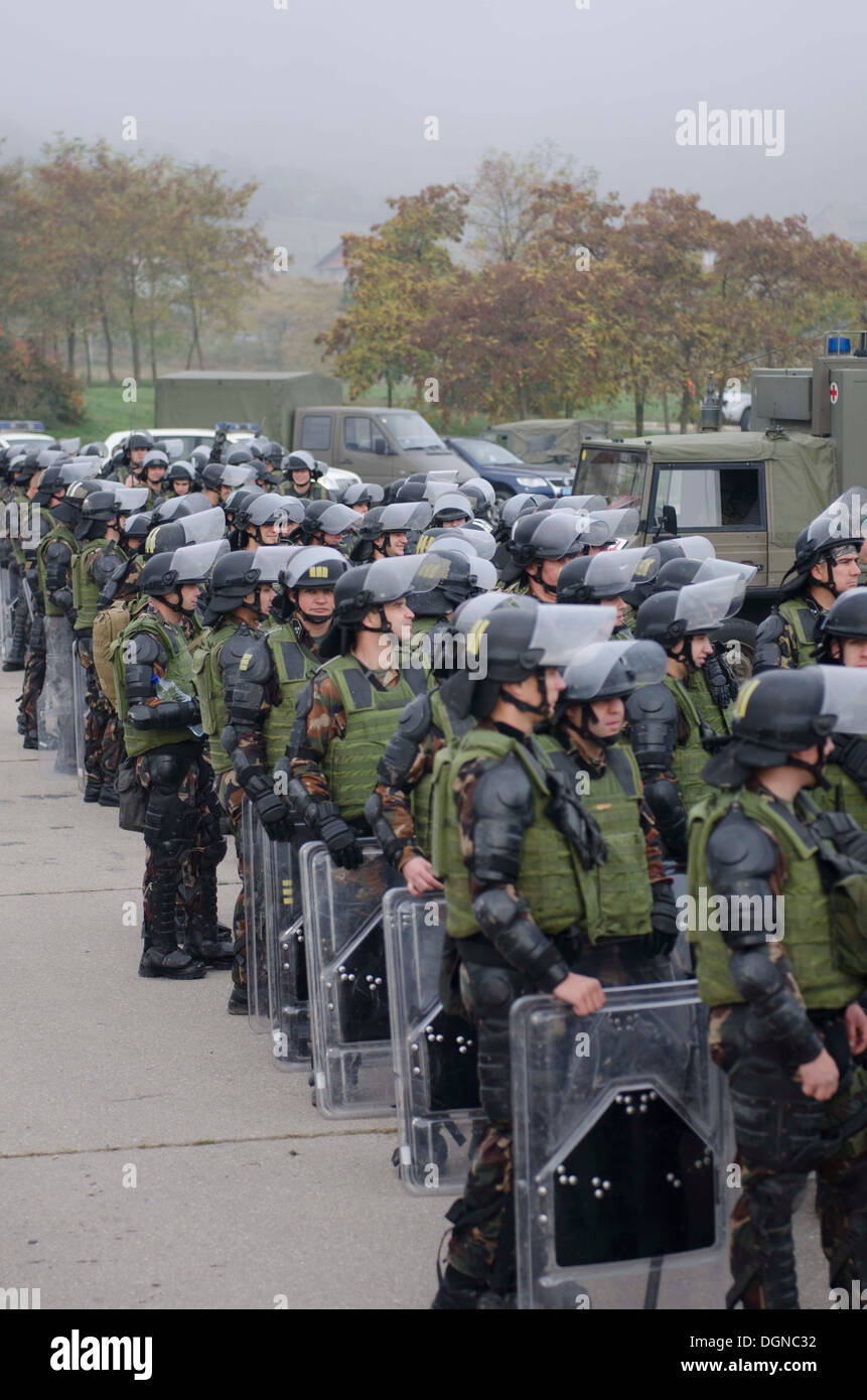 "KFOR soldiers and members of the European Rule of Law Mission in Kosovo (EULEX) conducted various training lanes at Camp Vrelo Oct. 15 as a part of the 3-day ""Silver Saber"" training exercise designed to improve crowd and riot control capabilities and deve - Stock Image"