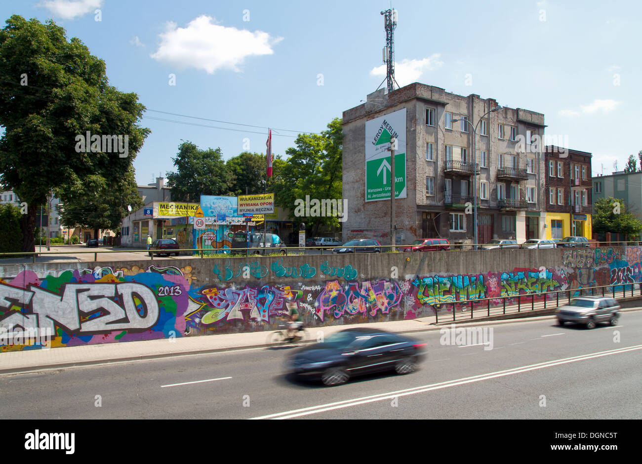 Warsaw, Poland, on an arterial road traffic - Stock Image