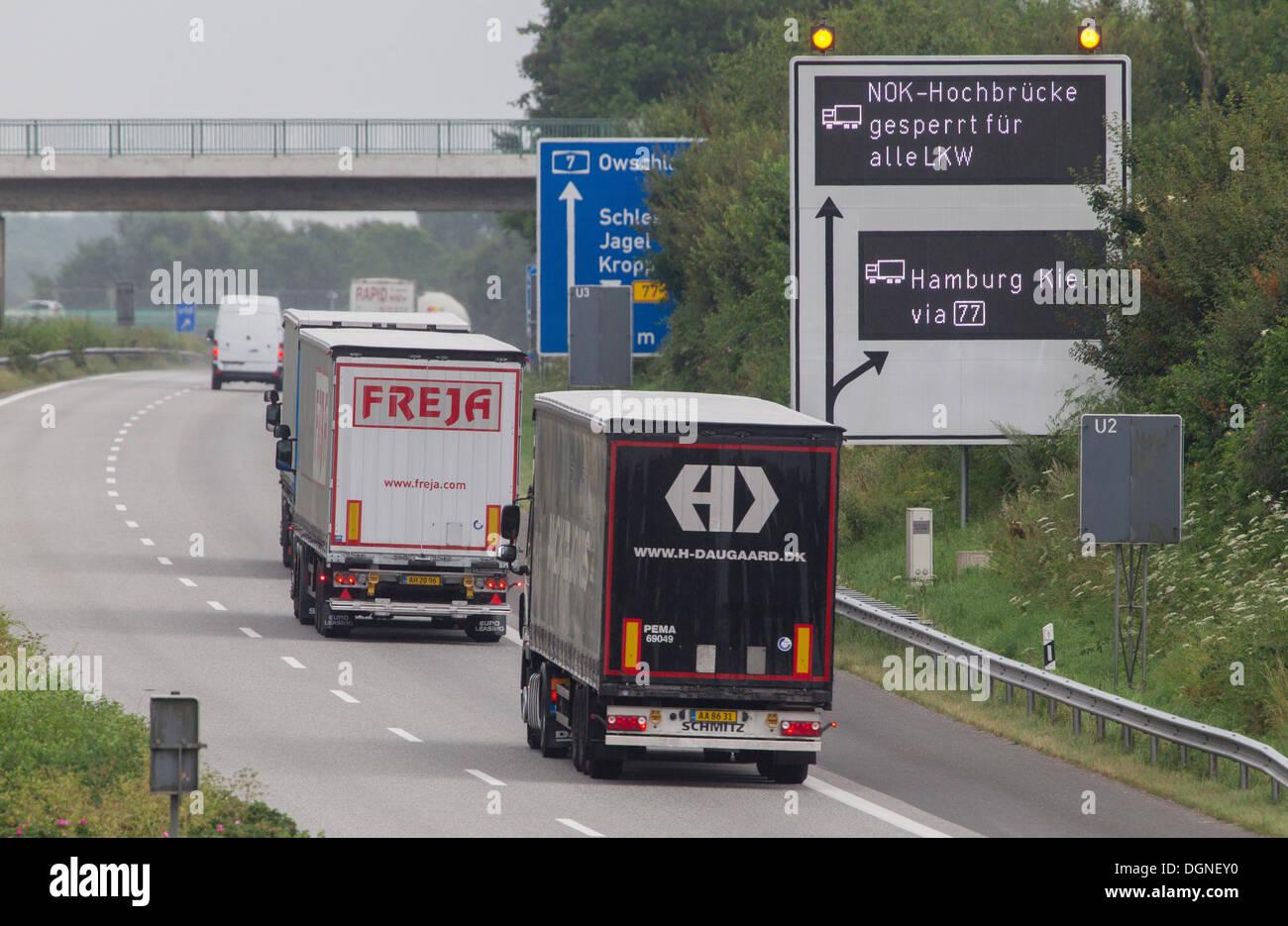 Jagel, Germany, blocking the wheels for trucks Hochbruecke - Stock Image