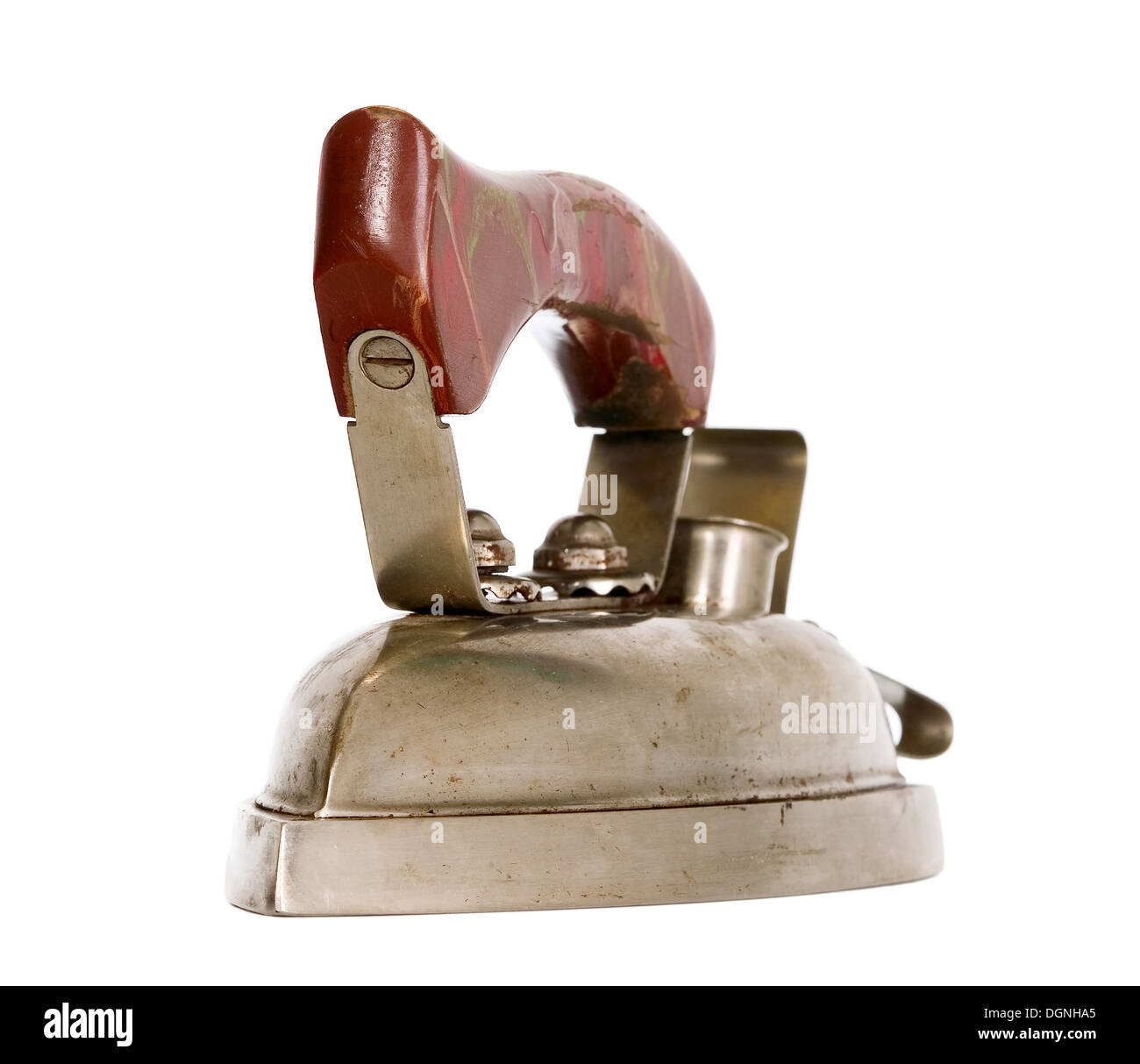Old vintage iron with brown wooden handle - Stock Image