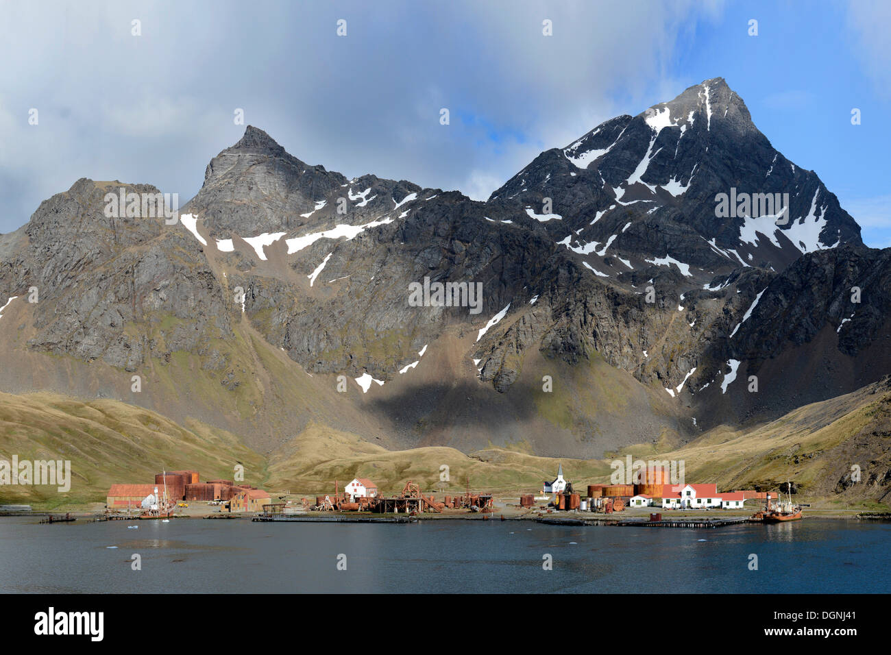 Former Grytviken whaling station, South Georgia and the South Sandwich Islands, United Kingdom - Stock Image