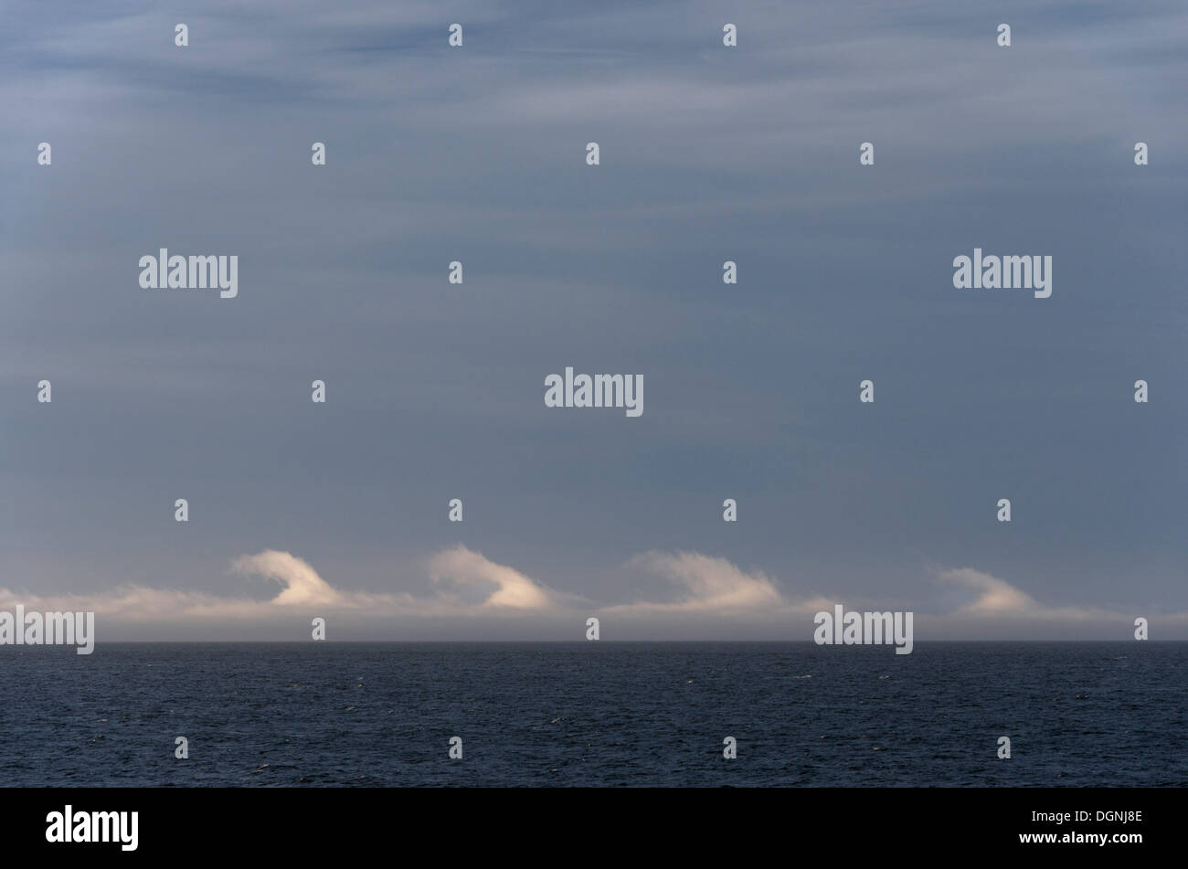 Kelvin-Helmholtz instability, clouds over the sea, Drake Passage, Argentina - Stock Image