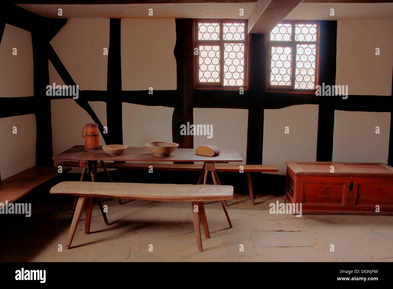 Servants' quarters in a farmhouse from the 18th Century, Hessenpark Open-Air Museum, Neu-Anspach, Taunus, Hesse - Stock Image