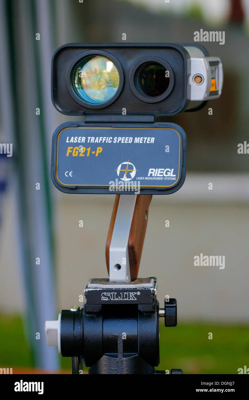 Portable laser speed meter, speed trap - Stock Image
