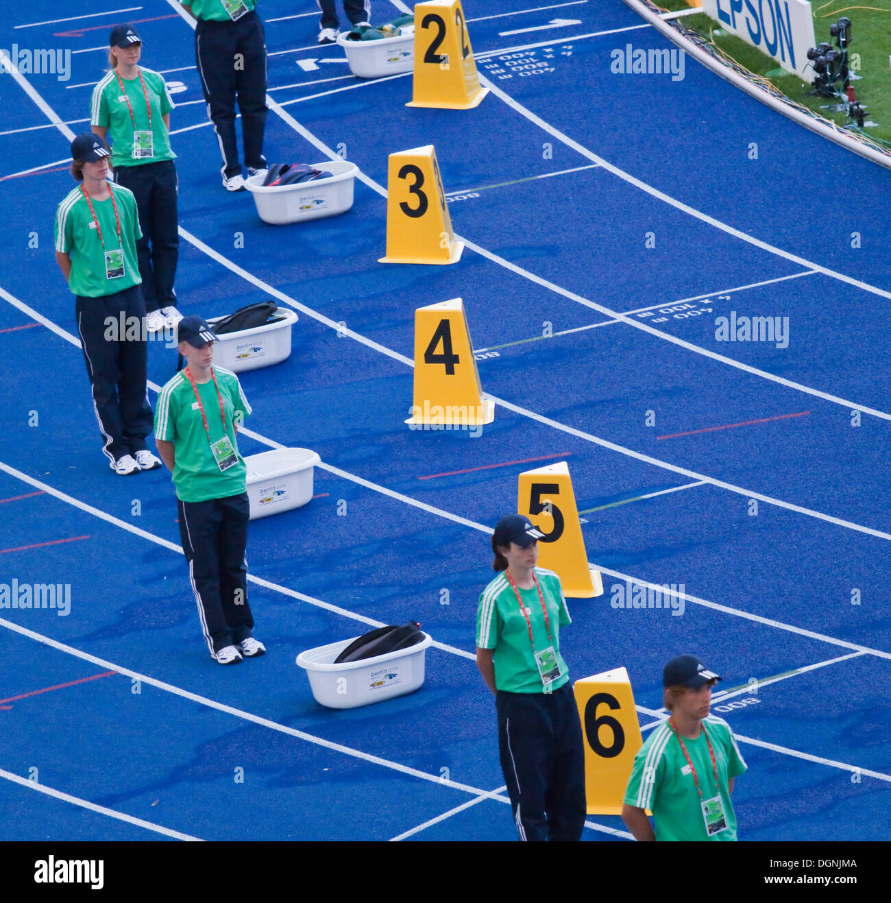 Volunteers at the World Championships in Athletics, IAAF, 2009, in Berlin's Olympic Stadium, Berlin - Stock Image