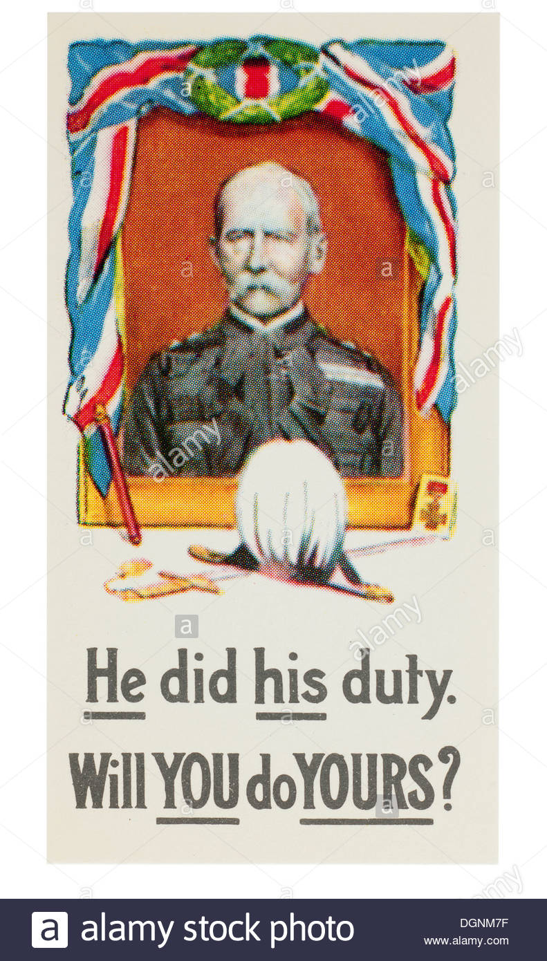 W.D.& H.O. Wills Series of 12 reproductions of recruiting posters cigarette cards: He did his Duty: EDITORIAL ONLY - Stock Image