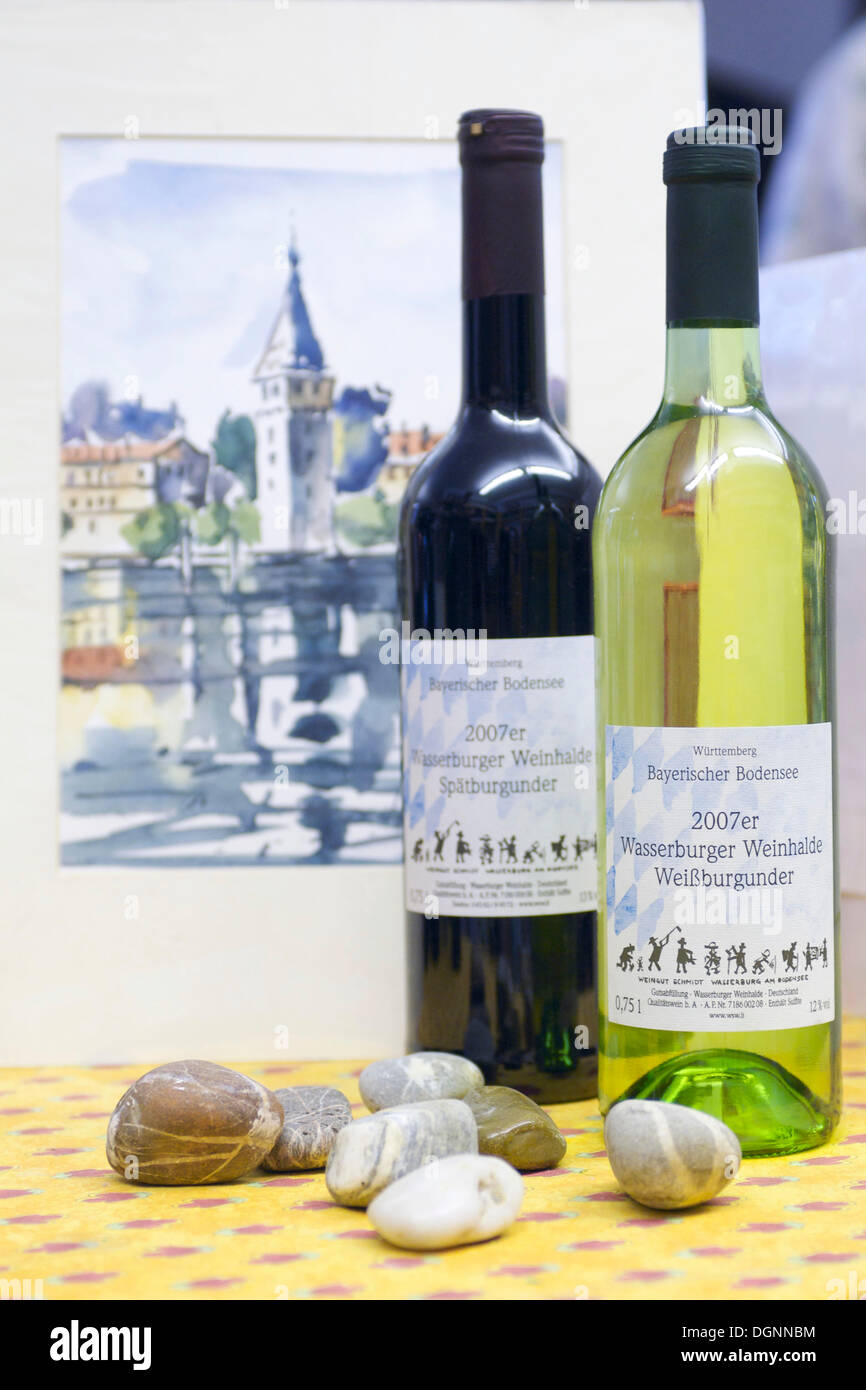 Bavarian wines from Lake Constance in a specialty shop in Lindau, Bavaria - Stock Image