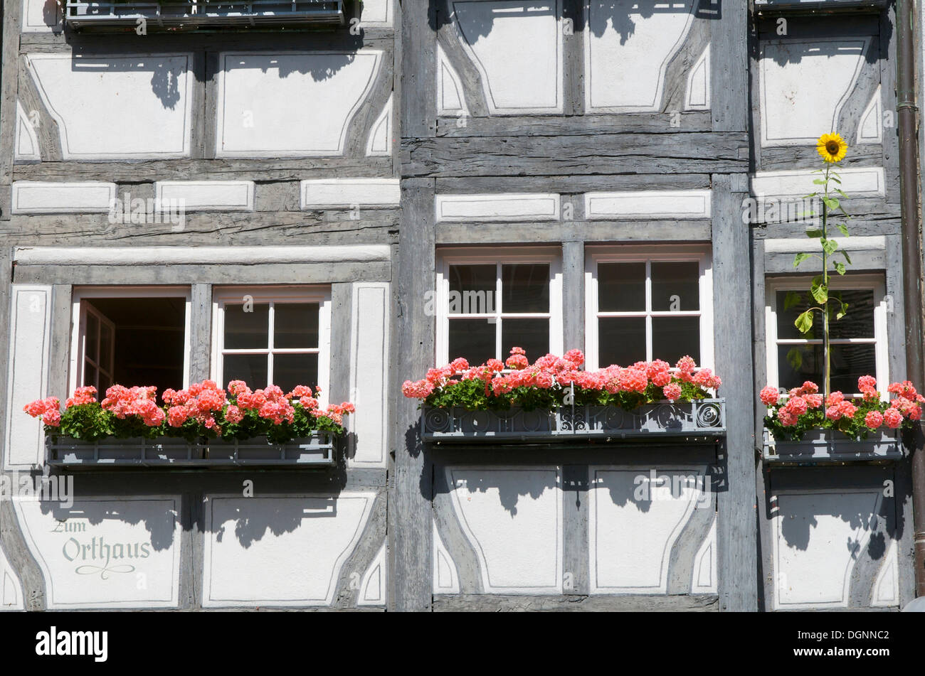 Half-timbered building, Maximilianstrasse street in the old town, Lindau, Bavaria - Stock Image