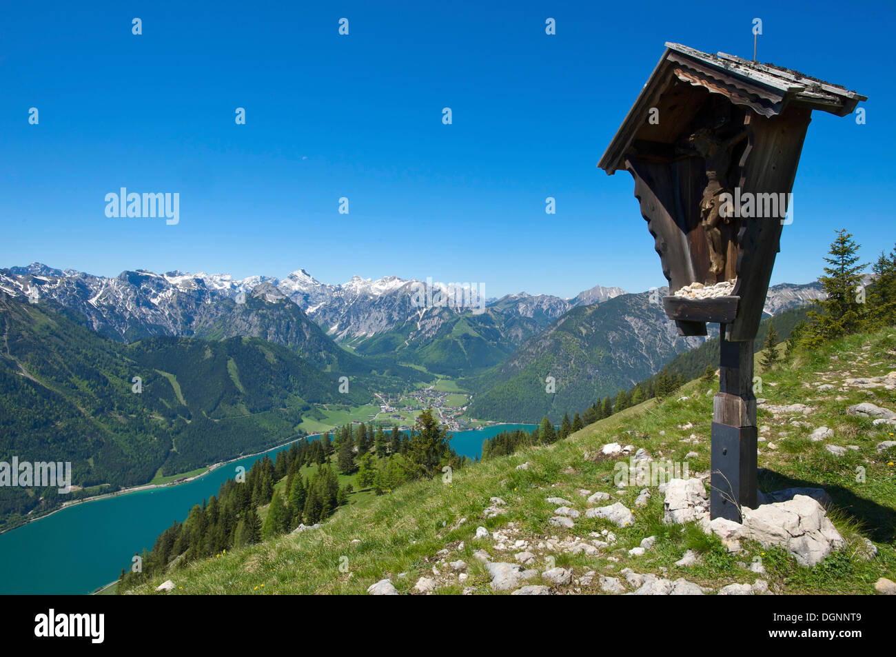 View from the Durrakreuz viewing point on Lake Achensee, Tyrol, Austria, Europe - Stock Image