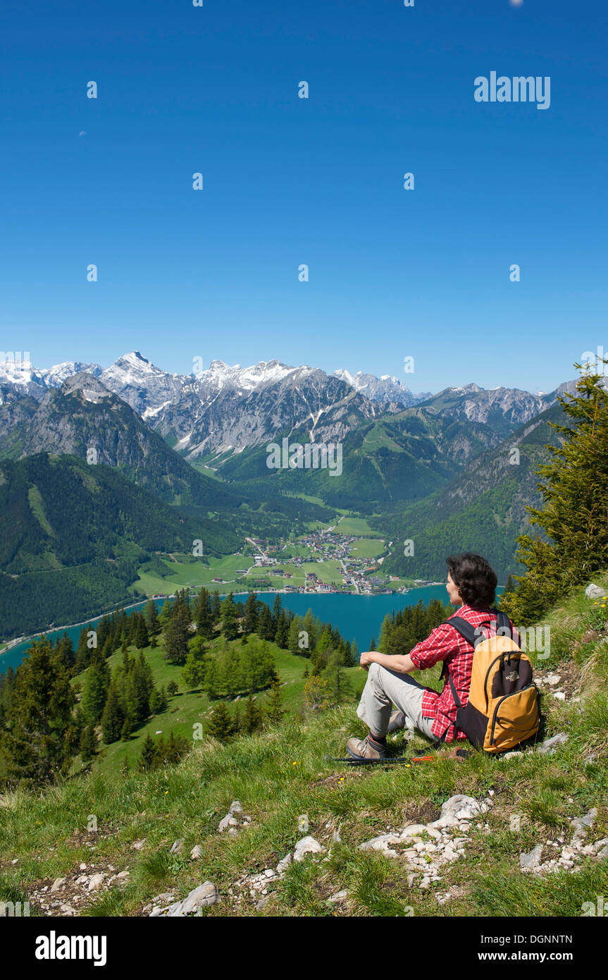 Durrakreuz viewpoint, woman enjoying the view of Lake Achensee, Tyrol, Austria, Europe - Stock Image