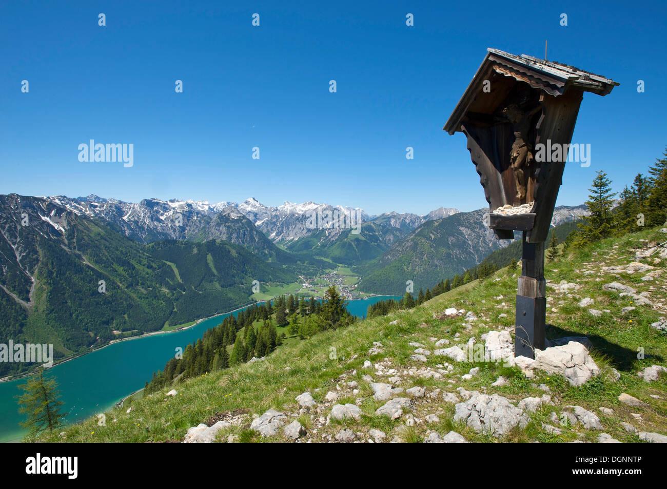 View of Lake Achensee as seen from Durrakreuz viewpoint, Tyrol, Austria, Europe - Stock Image
