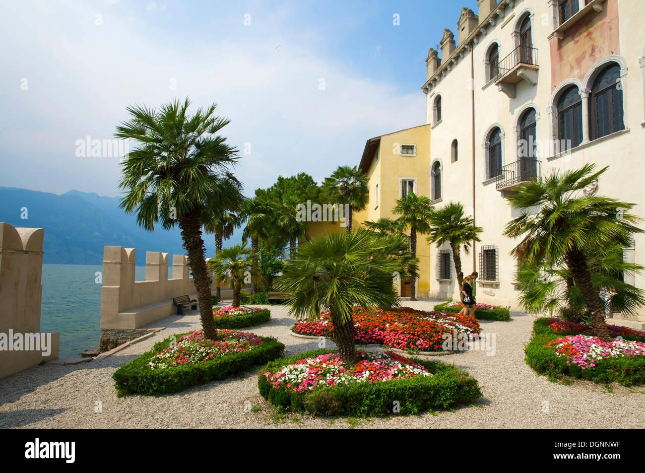 Garden of the Palazzo dei Capitani in Malcesine on Lake Garda, Veneto, Italy, Europe Stock Photo