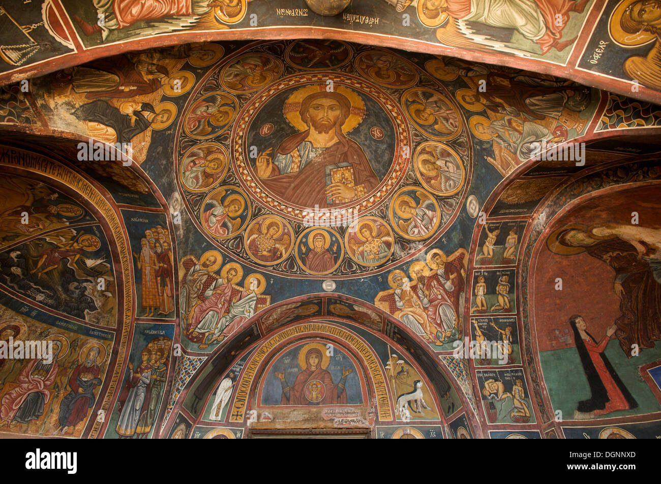 900-year-old wall painting, painted church of Panagia Phorbiotissa, UNESCO World Heritage Site, Asinou, Nikitari - Stock Image
