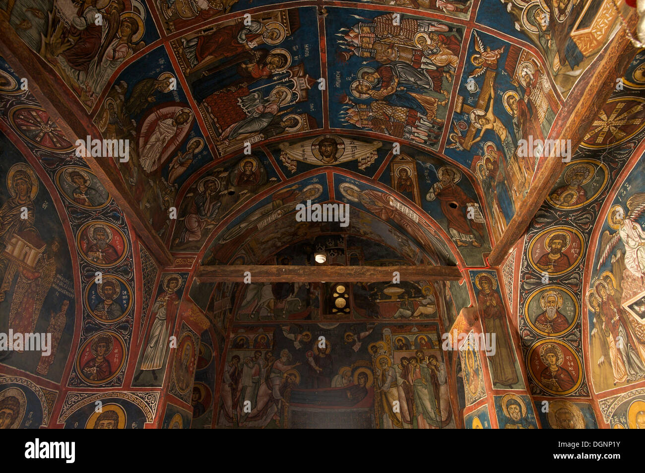 900-year-old wall paintings in the Greek Orthodox church Panagia Phorbiotissa, UNESCO World Heritage Church, Asinou - Stock Image