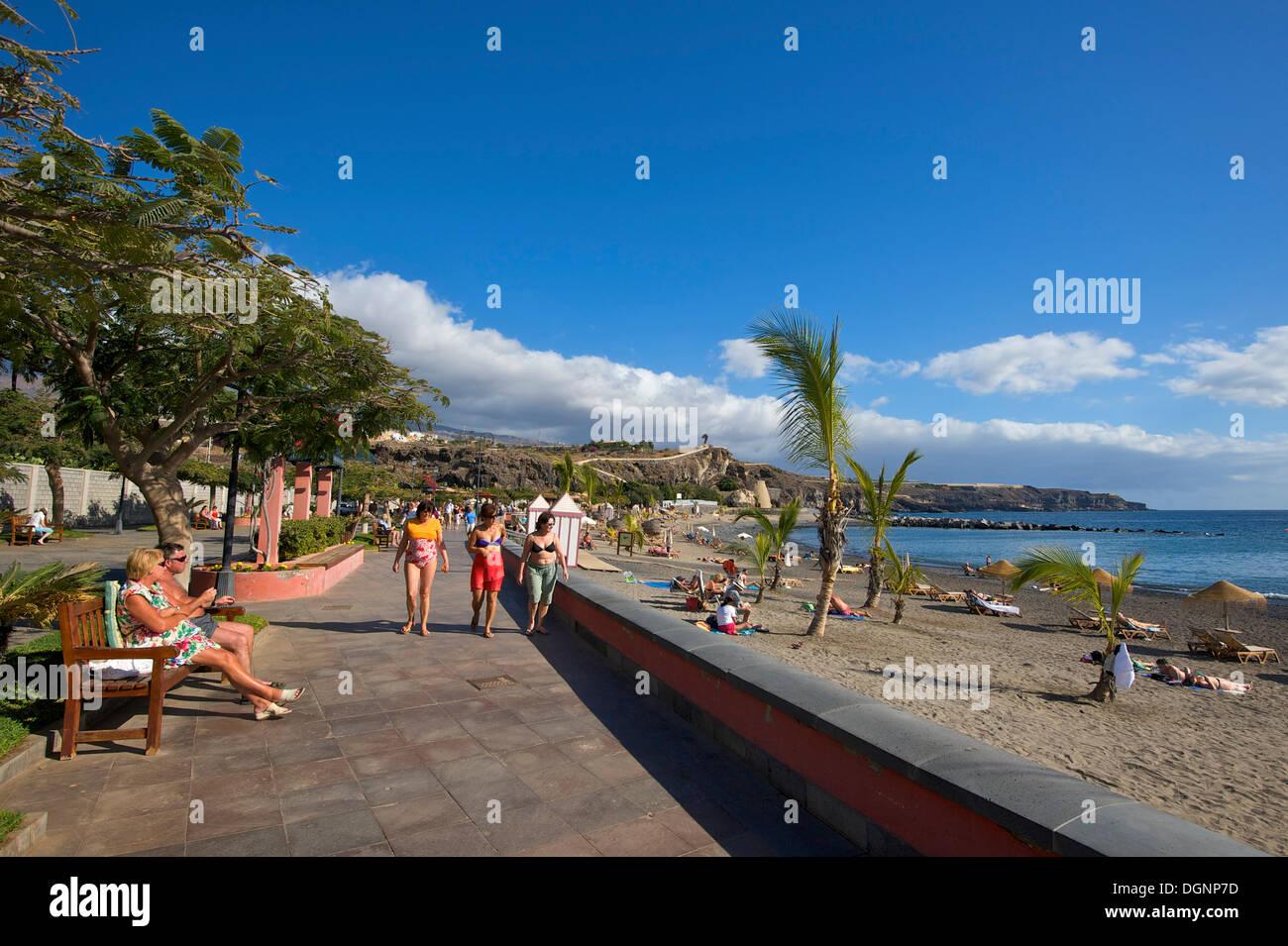 Beach, promenade of San Juan, Tenerife, Canary Islands, Spain, Europe - Stock Image