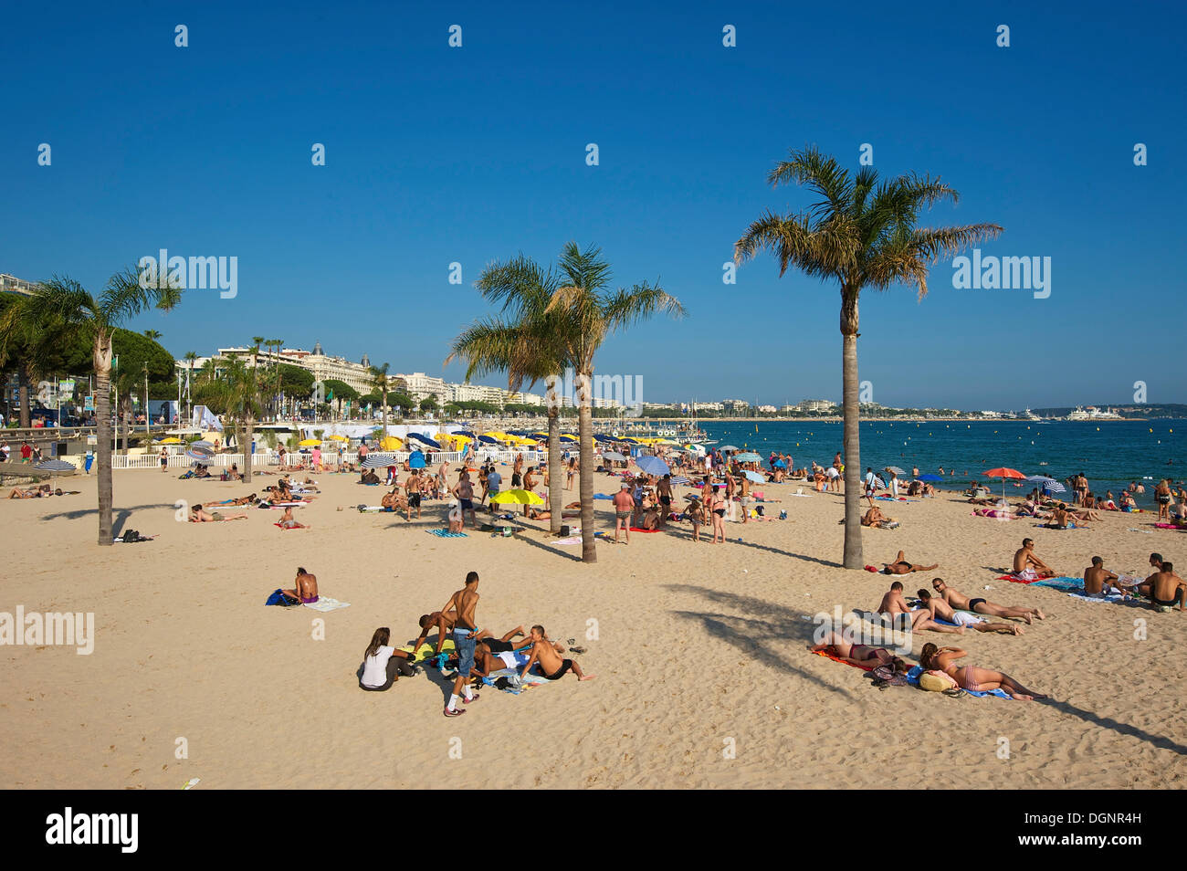 Beach on the Croisette, Cannes, French Riviera, Alpes-Maritimes, Provence-Alpes-Côte d'Azur, France - Stock Image