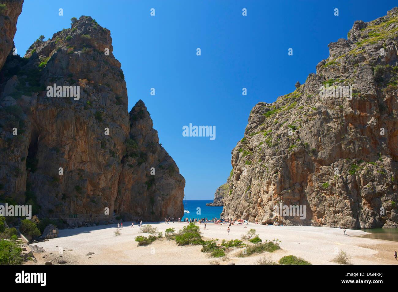 Cala de sa Calobra bay, Serra de Tramuntana, Sa Calobra, Serra de Tramuntana, Majorca, Balearic Islands, Spain - Stock Image