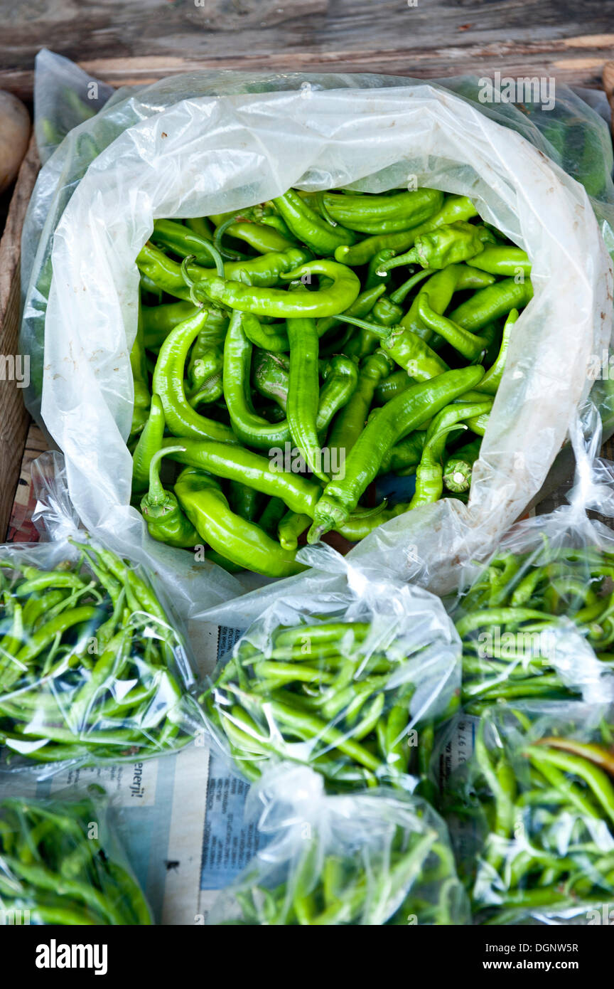 Fresh green chilis on sale at the market in plastic bags, Turkey - Stock Image