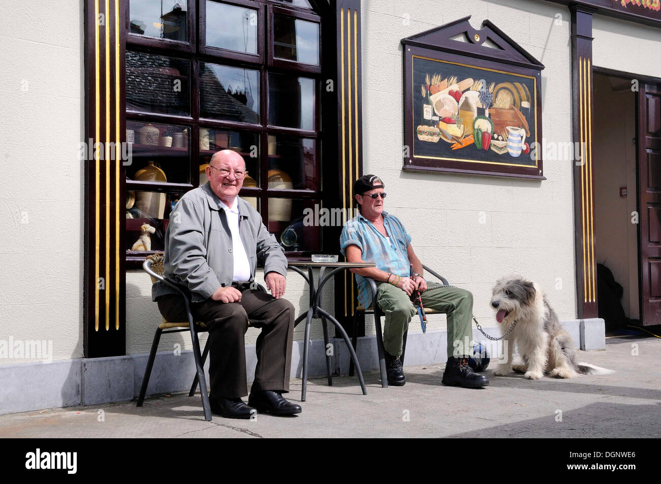 Scene outside a bar or a pub, Birr, Offaly, Midlands, Ireland, Europe - Stock Image