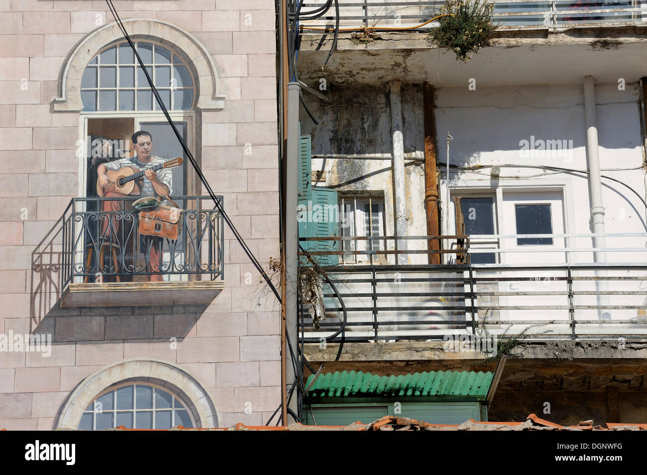 Detail of a mural on a building, Jaffa Road, Jerusalem, Israel, Middle East - Stock Image