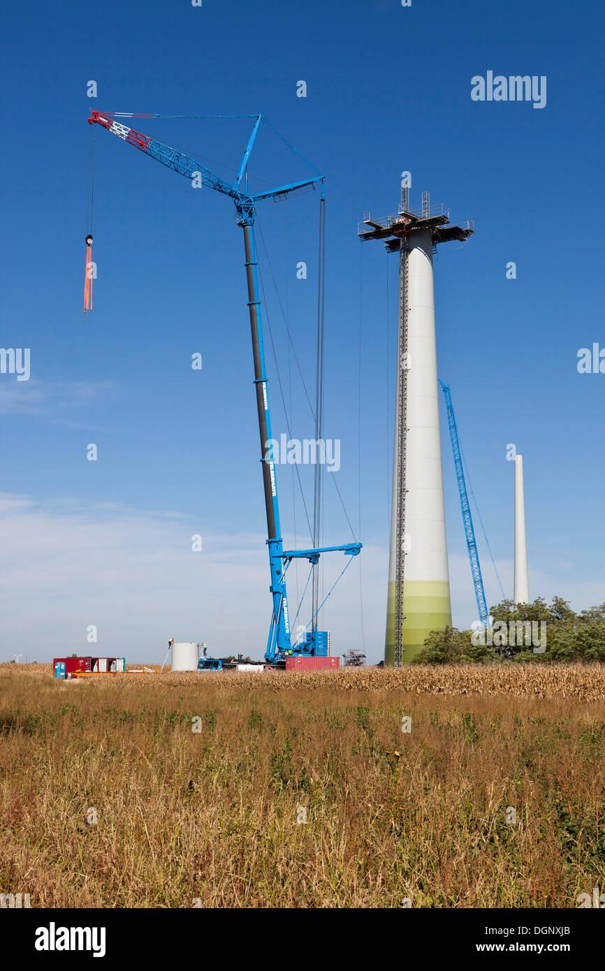 Construction of a wind turbine, type Enercon E82, Grosshofen wind farm, Marchfeld, Lower Austria, Austria, Europe Stock Photo
