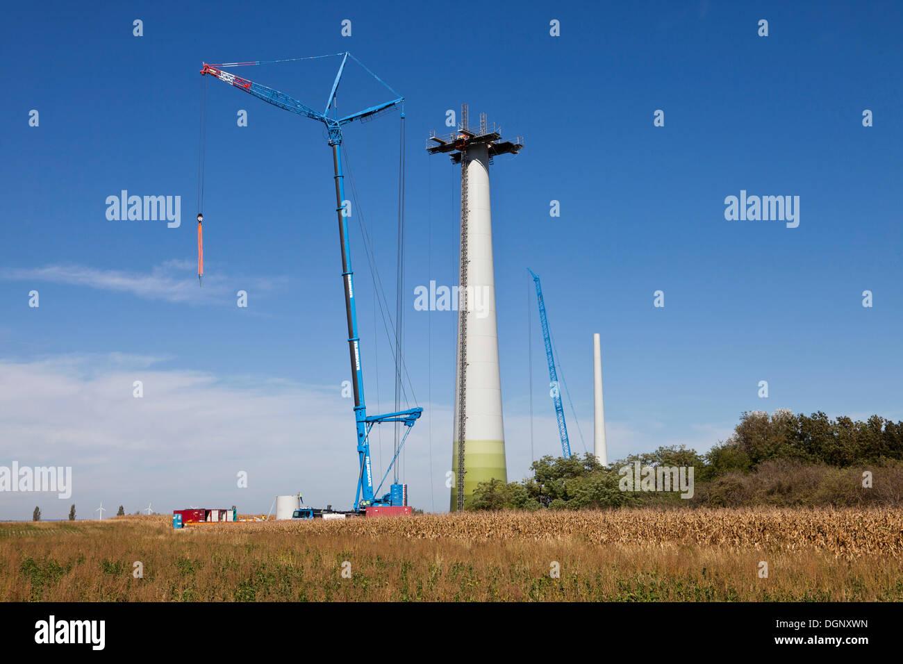 Construction of an Enercon E82 wind turbine, Windpark Grosshofen wind farm, Marchfeld, Lower Austria, Austria, Europe Stock Photo