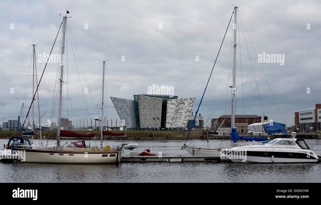 Boats, Titanic Museum at back, Titanic Quarter, Belfast, Nordirland, United Kingdom - Stock Image