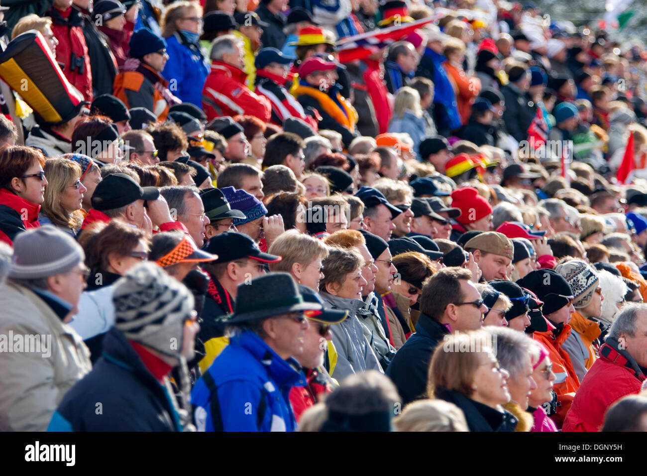 Enthusiastic spectators, Biathlon World Cup, Antholz, province of Bolzano-Bozen, Italy, Europe Stock Photo