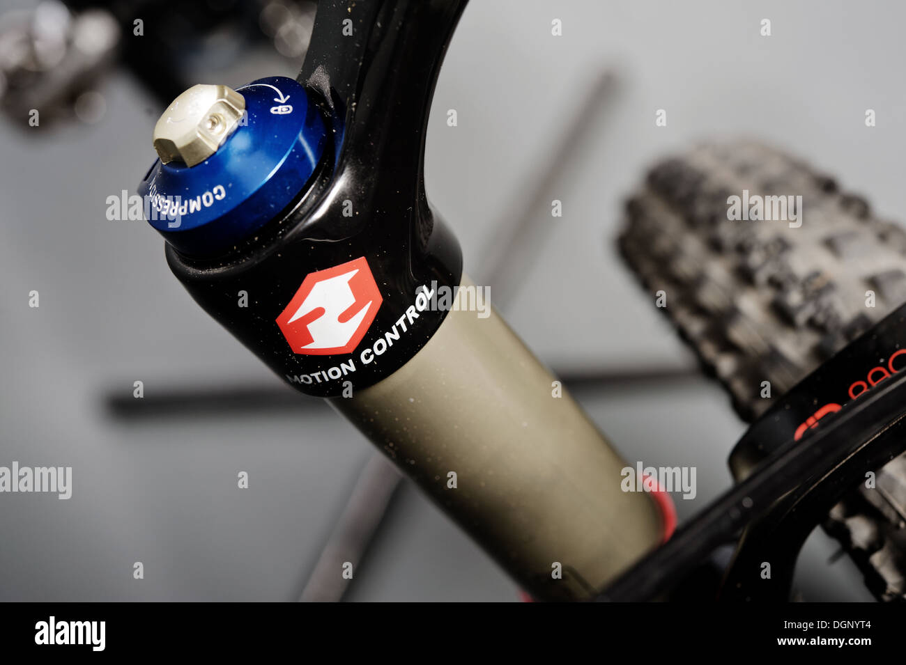 Front fork of the mtb bicycle - Stock Image