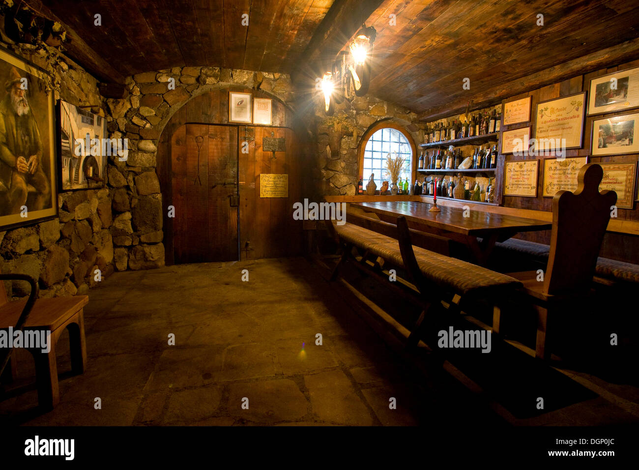 Table, benches and chairs in a wine cellar Stock Photo: 61949060 - Alamy