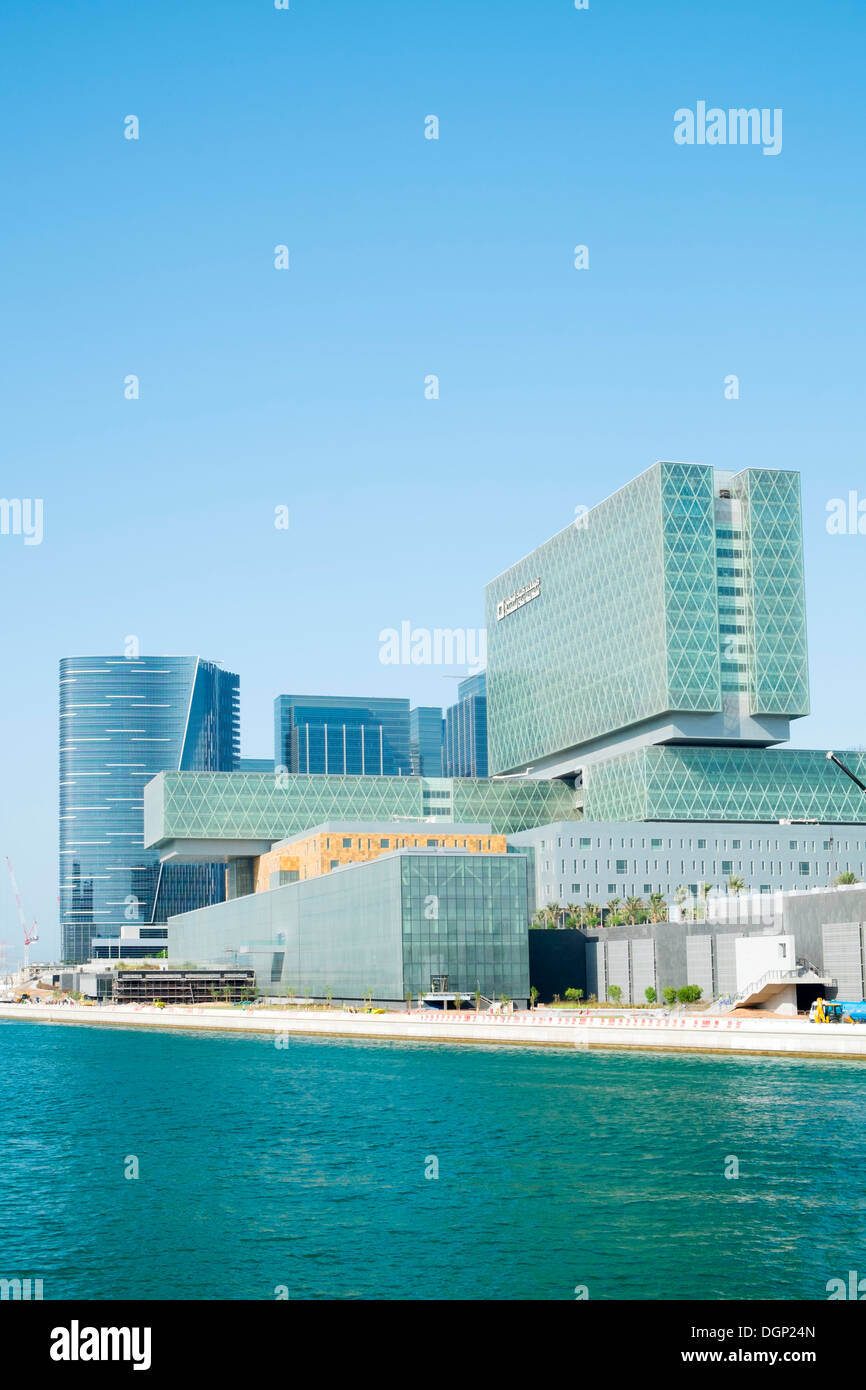 Exterior of new Cleveland Clinic hospital on Al Maryah Island the new Central Business District under construction in Abu Dhabi - Stock Image
