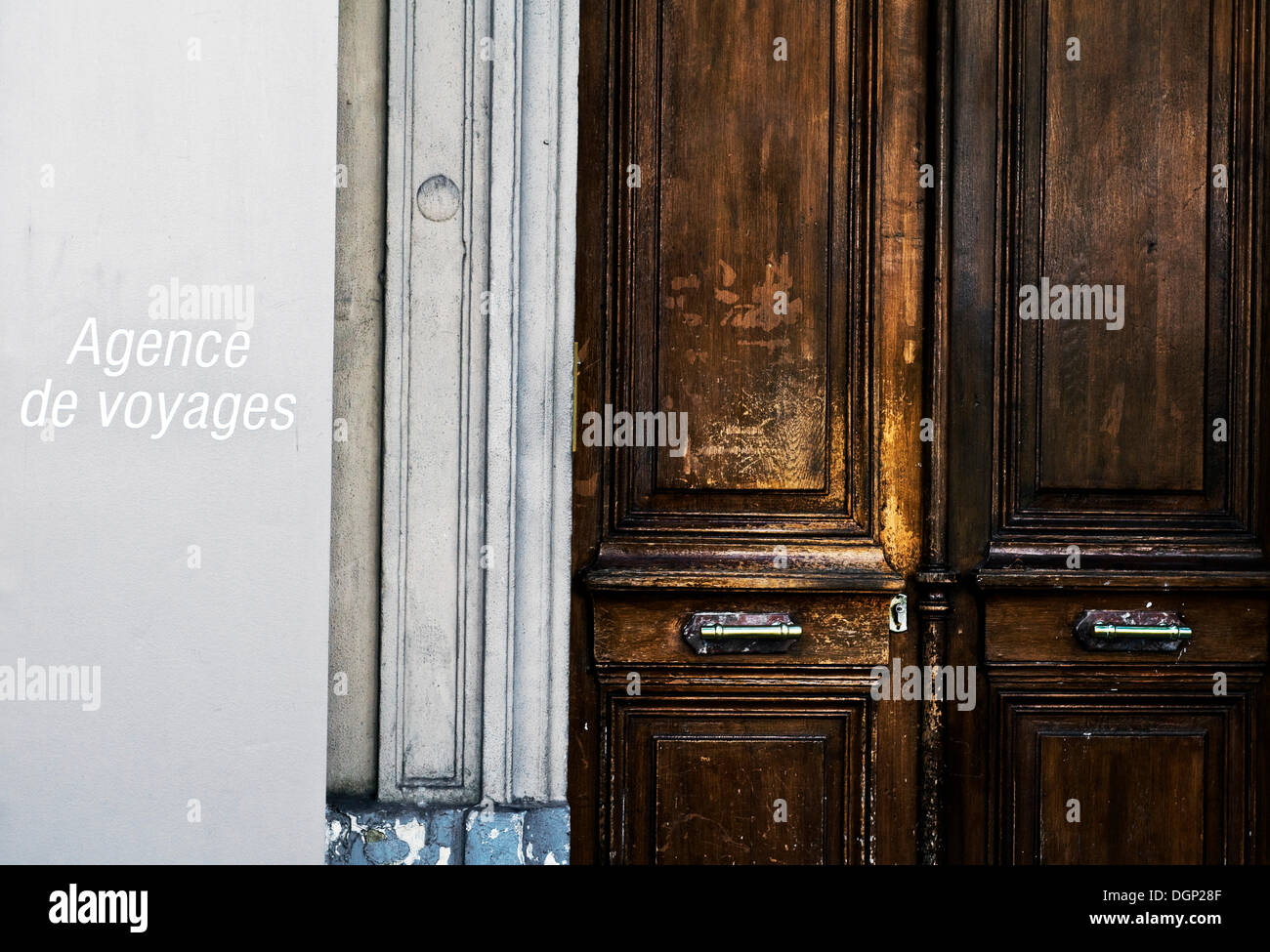 Front door, Agence Voyages, Paris, France, Europe - Stock Image
