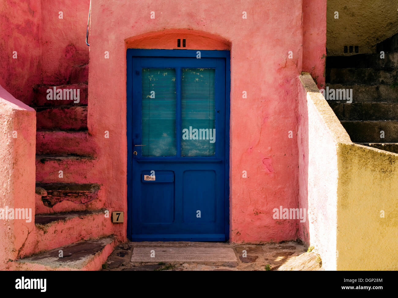 Blue front door with pink facade Colliure Languedoc-Roussillon France Europe & Front Door Front Doors Stairs Stairway Stairways Staircase ...