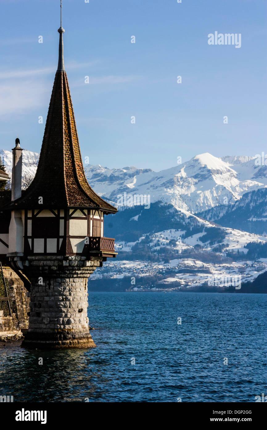 Oberhofen Castle, Lake Thun, Berner Oberland, Alps, Canton Bern, Switzerland, Europe - Stock Image