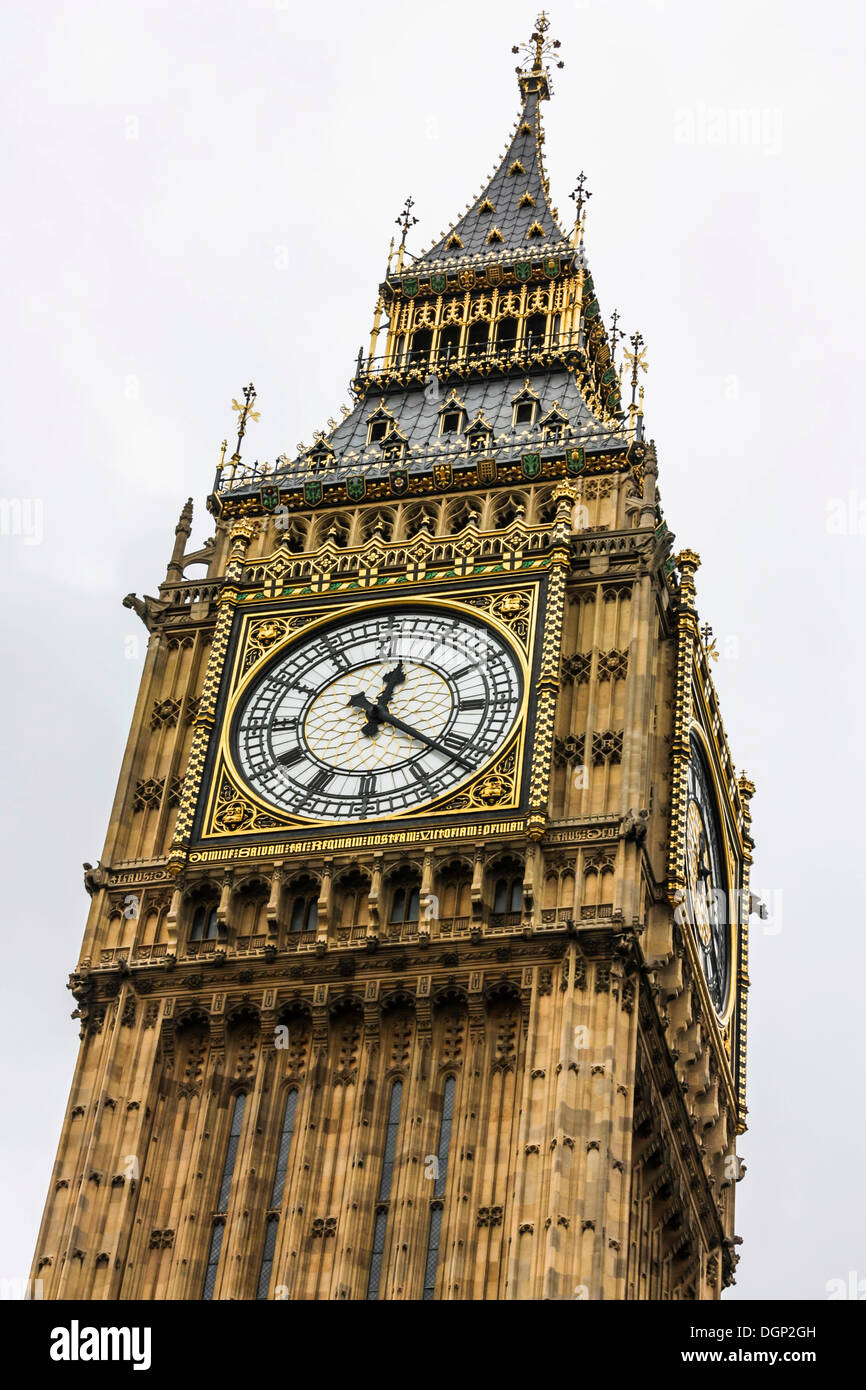 Clock Tower, Big Ben, Palace of Westminster, Unesco World Heritage Site, London, England, United Kingdom, Europe - Stock Image